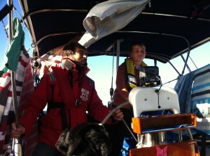 The crew practising steering the boat under sail