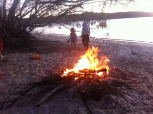 Beach fire at Great Keppel